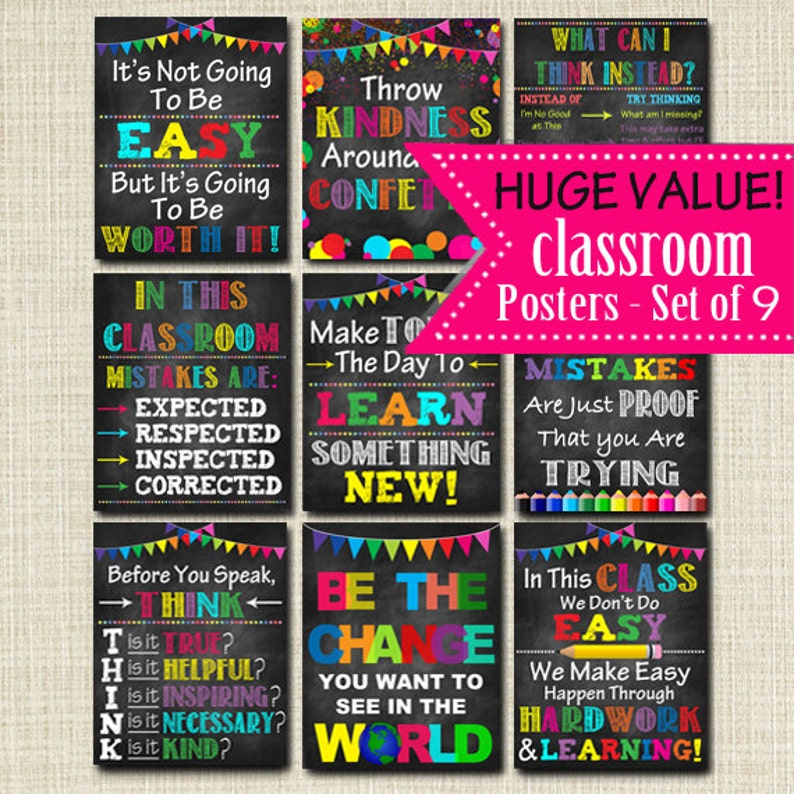 graphic regarding Printable Classroom Posters titled 30% Off PRINTABLE Clroom Poster Fastened, Decor, Motivational Trainer Chalkboard Printables, Problems Evidence of Attempting, Believe Ahead of Oneself Communicate