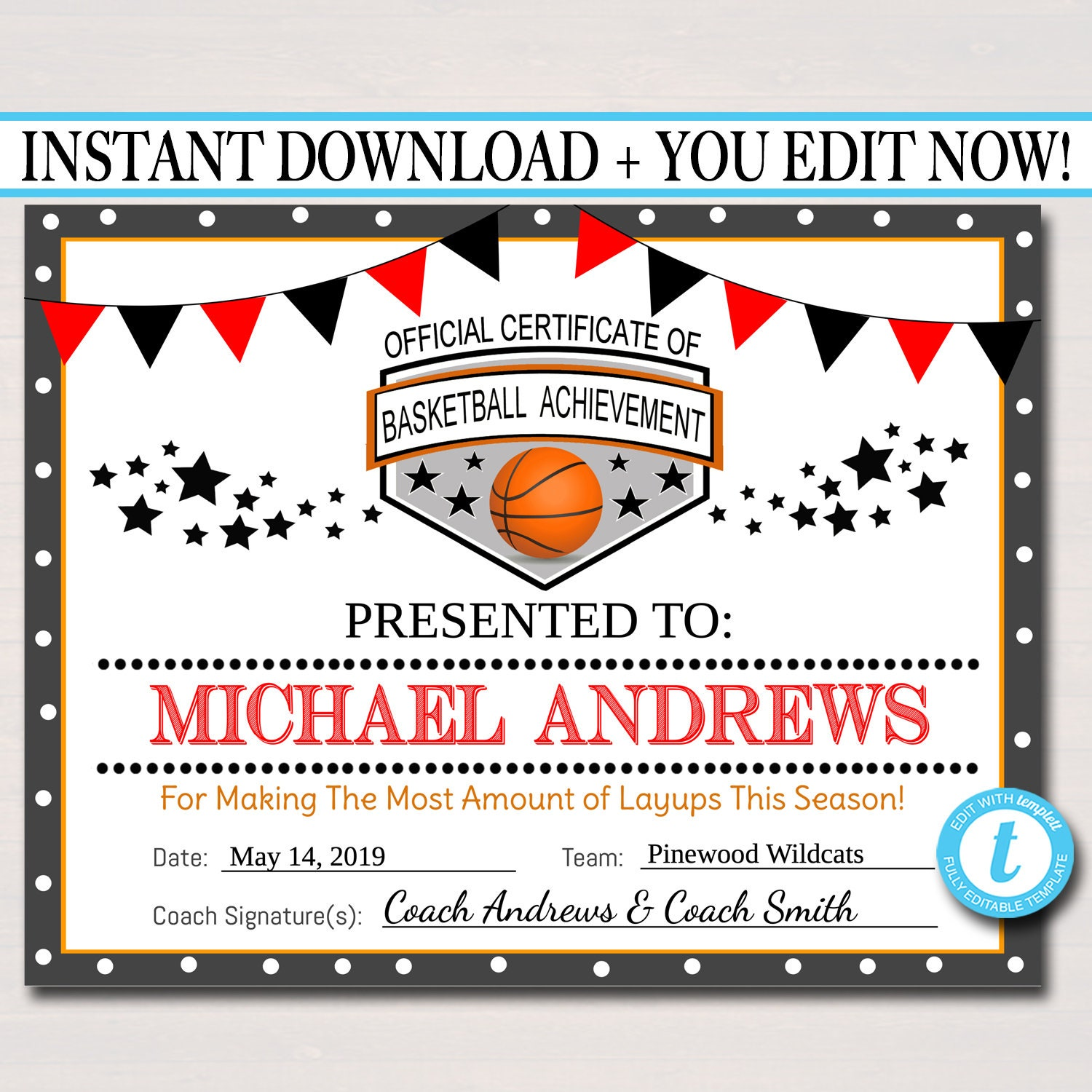 image relating to Printable Basketball Certificates titled EDITABLE Basketball Certificates, Immediate Obtain Basketball Staff Awards, Basketball Social gathering Printable, Printable Athletics Certification Awards