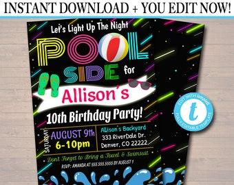 EDITABLE Glow in The Dark Neon Light Up The Night Pool Party Invitation, Printable Digital Invite, Teen Tween Birthday, Back To School Party