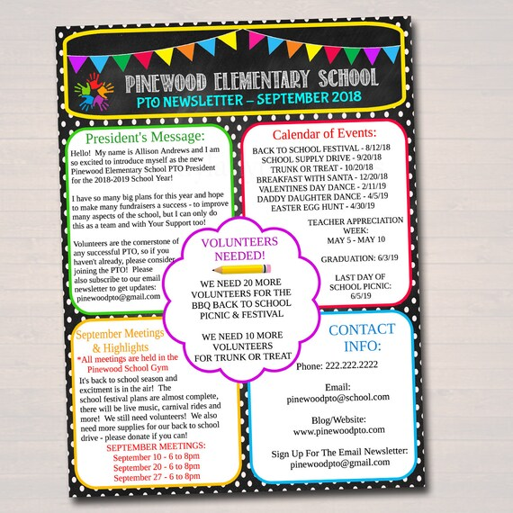 editable pto pta newsletter flyer printable handout school etsy