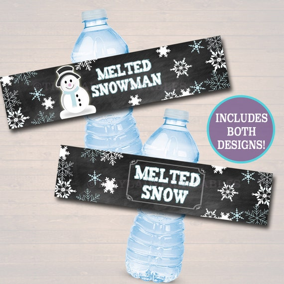Printable Melted Snow Water Bottle Labels Melted Snowman Etsy