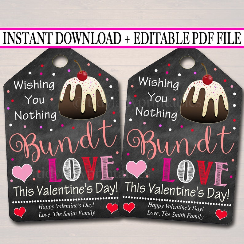 photo about Nothing Bundt Cakes Coupons Printable known as EDITABLE Bundt Cake Valentine Reward Tags, Workforce Instructor Coworker Close friend Volunteer Reward, Printable Bakery Deal with Cake Labels, Immediate Down load