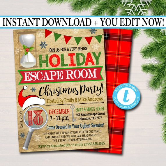 Printable Holiday Escape Room Invitation Christmas Party Etsy