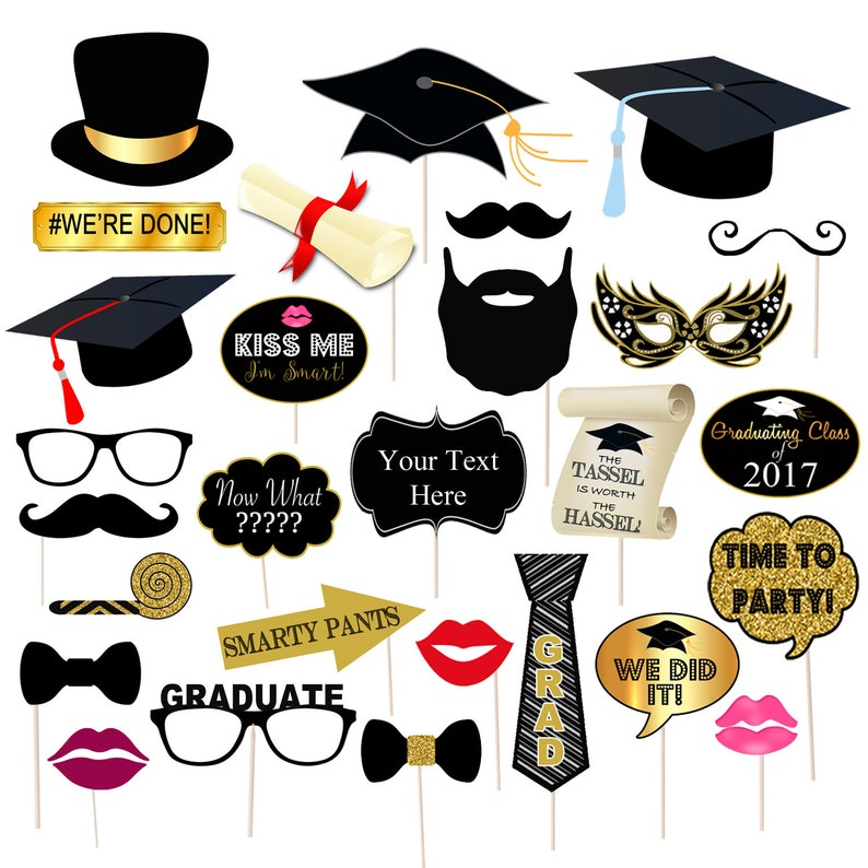 photograph regarding Graduation Photo Booth Props Printable named EDITABLE Commencement Celebration Props, Printable Picture Booth, Quick Down load Substantial College or university Commencement Faculty Graduate, Senior Grad Celebration Decor