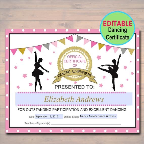 Editable Dancer Certificate Instant Download Dancing Award Etsy