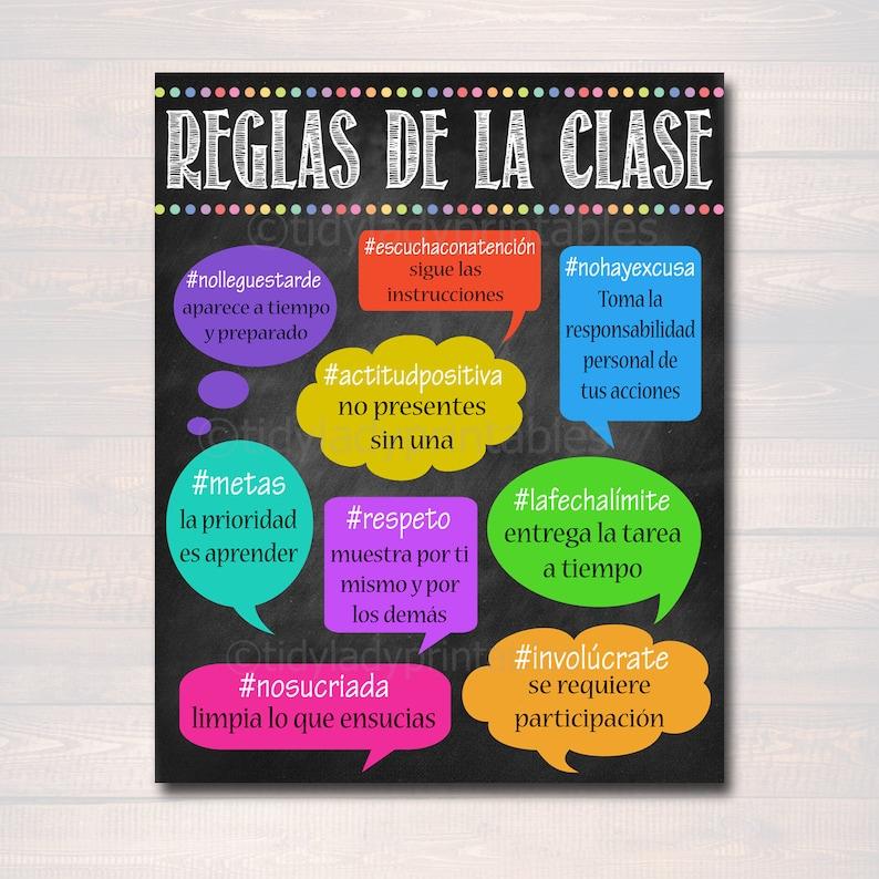 Hashtag Spanish Classroom Rules Poster Classroom Policies Reglas De La  Clase, Educational Motivational Spanish Teacher Gift INSTANT DOWNLOAD