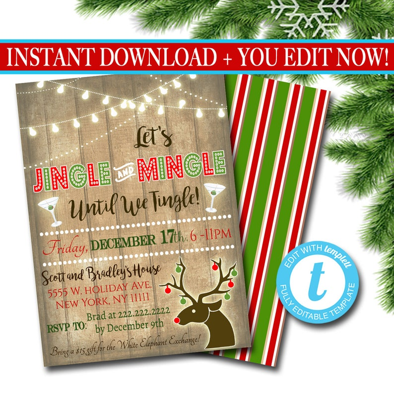 Printable Jingle Mingle Christmas Party Invitation Adult Etsy