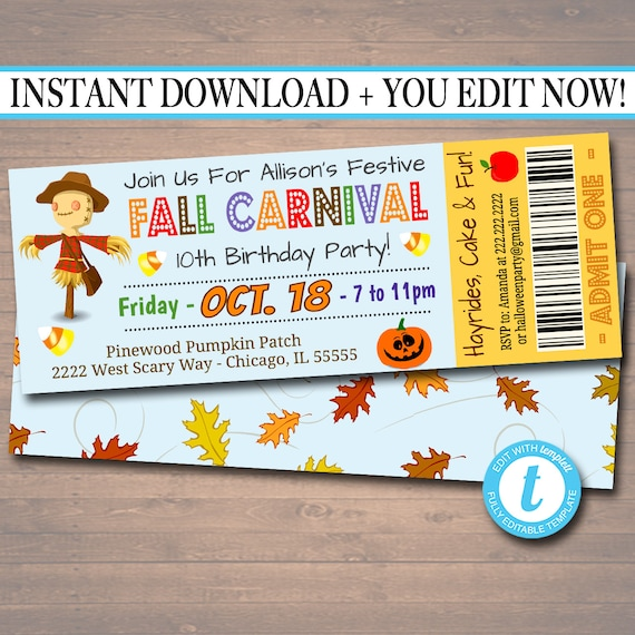 Printable Fall Carnival Ticket Invitation Festival Party