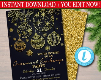 EDITABLE Ornament Exchange Party Invitation Xmas Bridal Shower Invite, Bachelorette Party Holiday Invite, Dirta Santa Party INSTANT DOWNLOAD