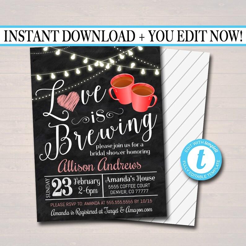01d3b06b2564 EDITABLE Love is Brewing Bridal Couples Shower Tea Coffee