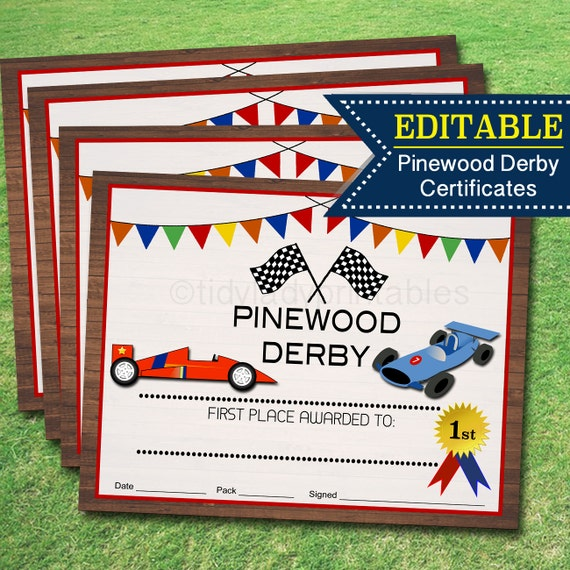 image 0 - Pinewood Derby Certificate Templates