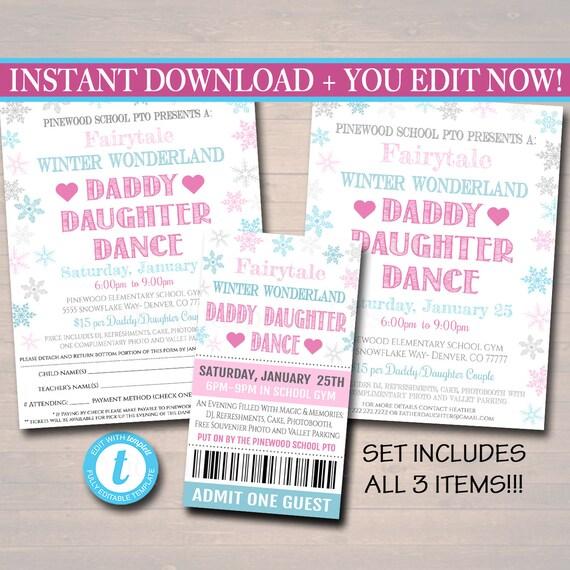 Editable Daddy Daughter Dance Set School Dance Flyer Party Etsy
