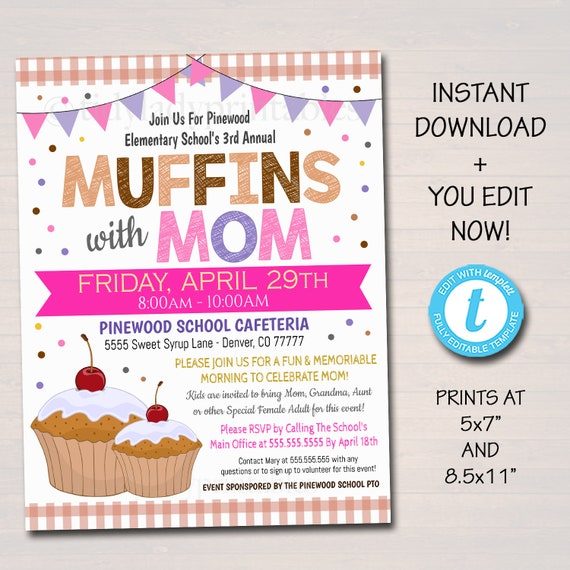 EDITABLE Muffins With Mom Invite, Printable PTA Flyer