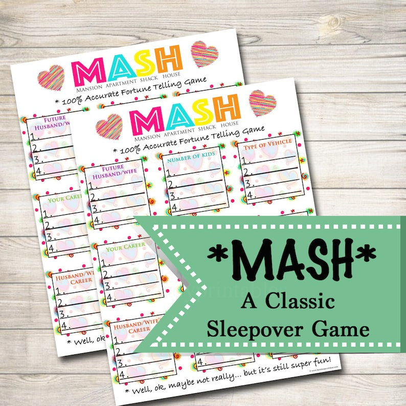 image relating to Mash Game Printable referred to as Printable Mash Match, Women of all ages Get together Activity, Spa Get together Elegance Bash, Pamper Bash Clic Sleepover Video game, Printable Activity of MASH, Fast Down load