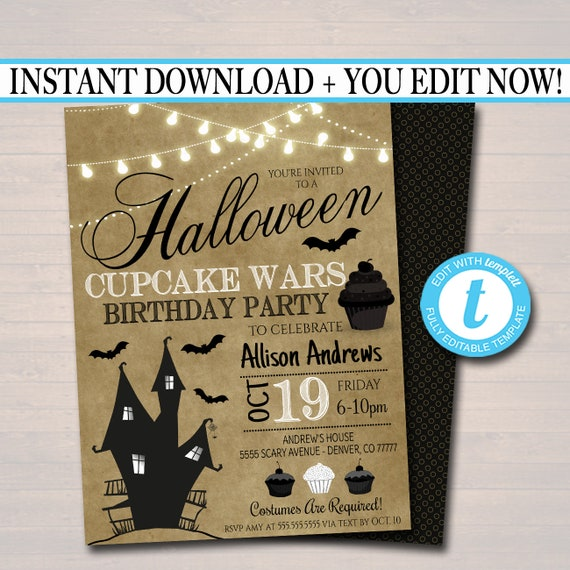 Halloween Party Editable Printable Birthday Decorations INSTANT DOWNLOAD