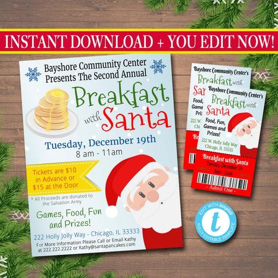 editable breakfast with santa flyer tickets breakfast with etsy