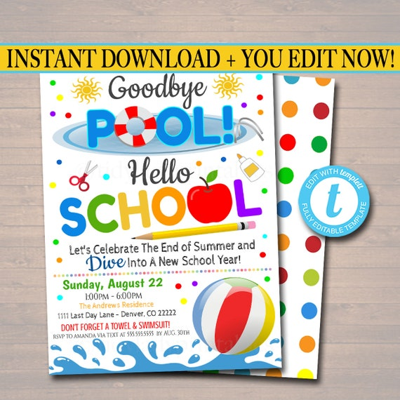 Backyard bbq Invite Splish Splash Goodbye School Hello Pool Party EDITABLE End of School Pool Party Invitation Printable Digital Invite