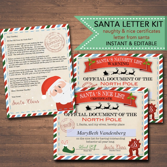 Editable nicenaughty certificates santa letter christmas etsy image 0 spiritdancerdesigns Images