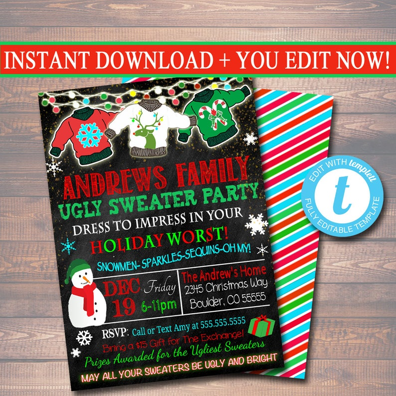 ugly sweater christmas party invitations template.html