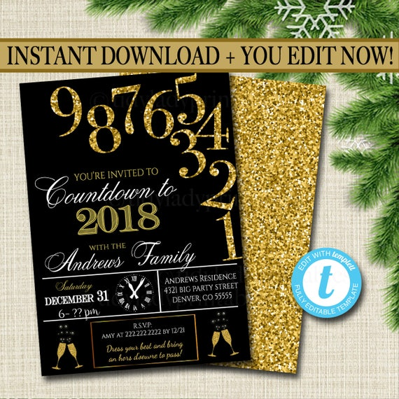 New Years Eve Black And Gold Glitter Invitation