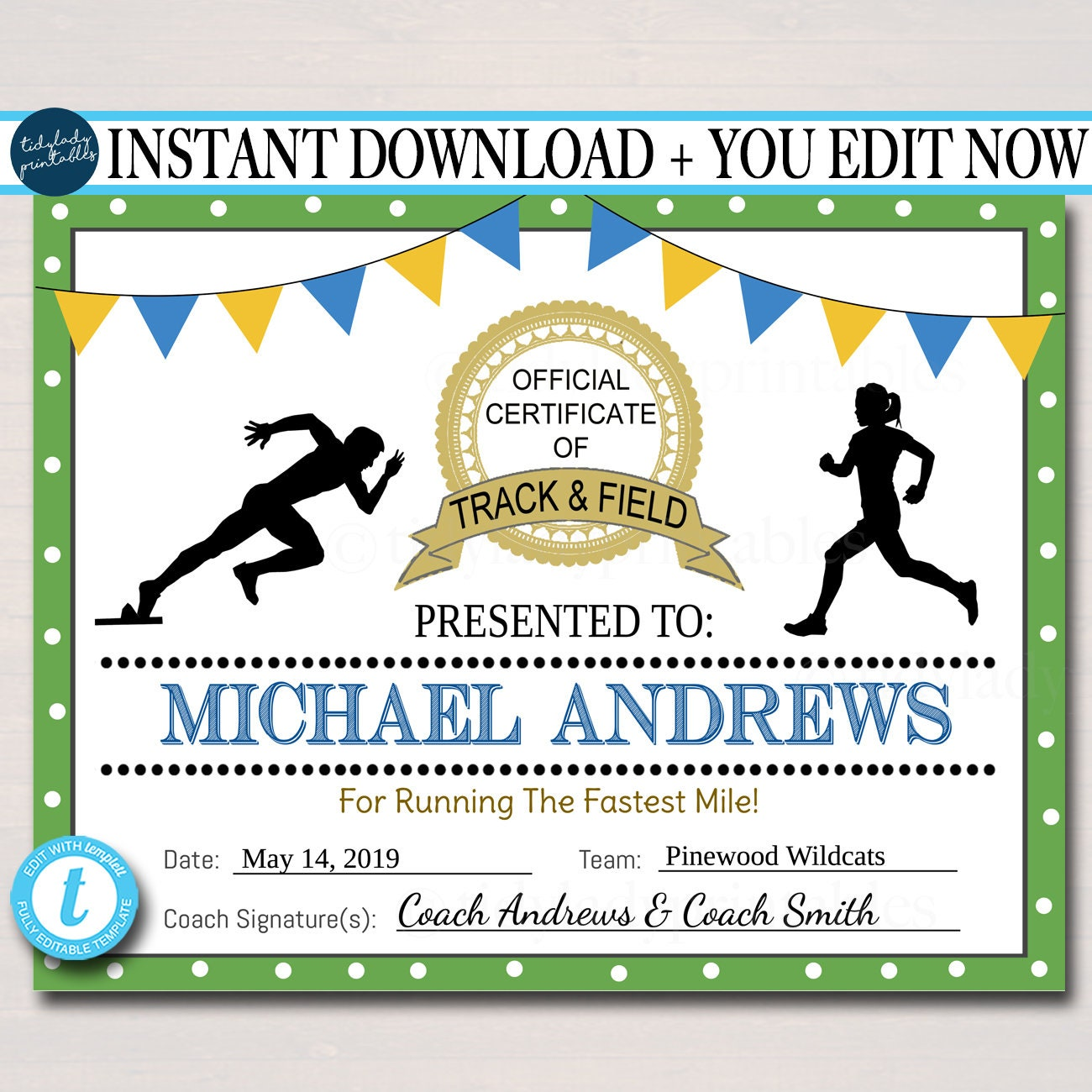 EDITABLE Track & Field Award Certificates, INSTANT DOWNLOAD, Track Awards,  Track Party Printable, Printable Award Sports Runner Certificates For Running Certificates Templates Free
