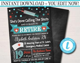 Editable Nurse Retirement Invitation Chalkboard Printable Digital Teacher Invite Retirement Party, RN Doctor Personalized Nurse Career Stats