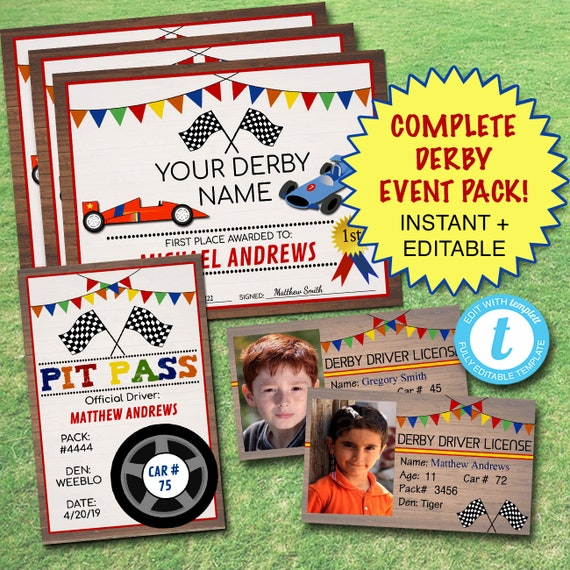 photo regarding Pinewood Derby Awards Printable named 20% OFF EDITABLE Derby Pack Prompt Down load, Boy Cub Scouts