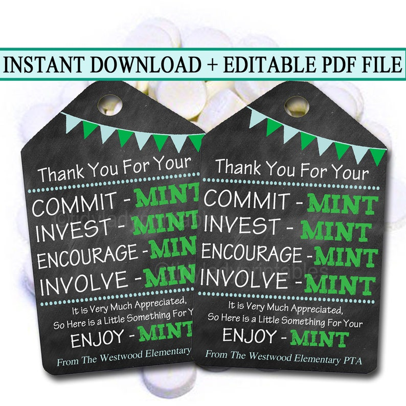 graphic relating to Thank You Gift Tags Printable named Printable Thank Your self Tags, Volunteer Mint Labels, Printable, Fast + EDITABLE, Thank Your self Present, PTA Employees Present Appreciation Mint Want Label