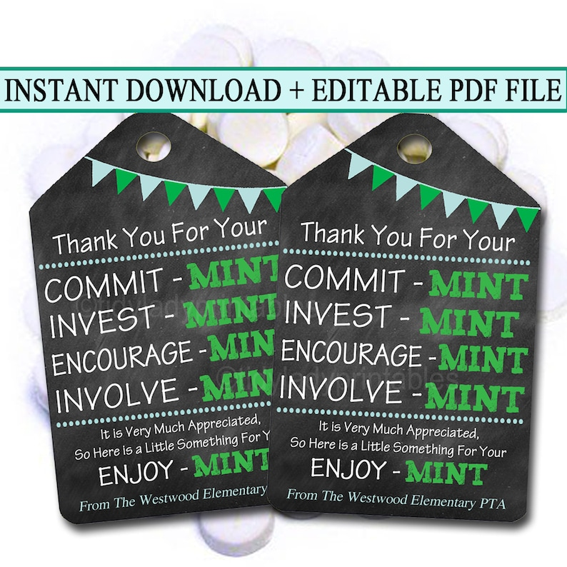 image regarding Thank You Gift Tags Printable referred to as Printable Thank Yourself Tags, Volunteer Mint Labels, Printable, Immediate + EDITABLE, Thank Yourself Present, PTA Employees Reward Appreciation Mint Like Label
