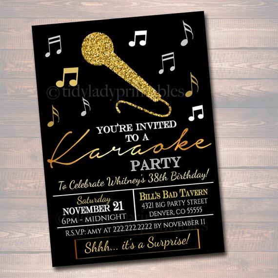 Invitación Editable Parte De Karaoke Adultos Cumpleaños Invitación Digital Diy Invitar Invitación Fiesta Negro Y Oro Cantar Karaoke Partido