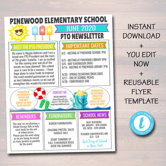 June Pto Pta Newsletter Flyer Classroom Printable Handout End Of School Year Calendar Meeting Agenda Printable Organizer Editable Template By Tidylady Printables Catch My Party