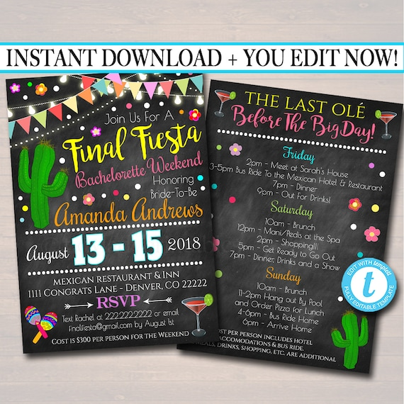 editable fiesta bachelorette party invitation cinco de mayo etsy