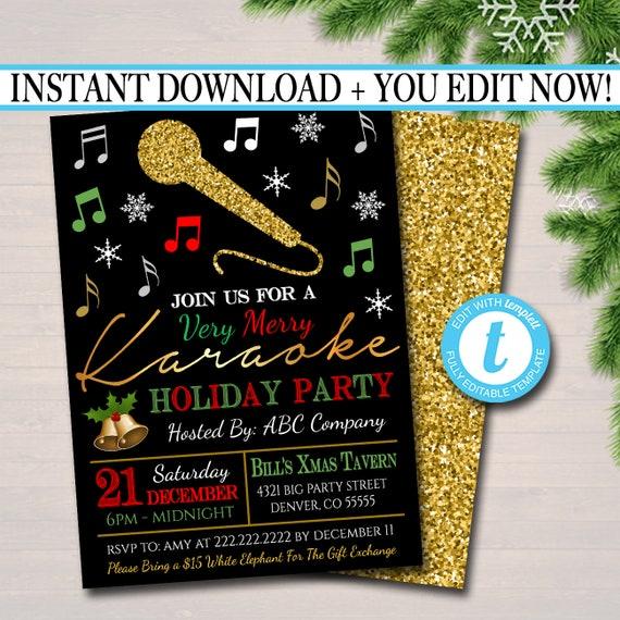 Editable Holiday Karaoke Party Invitation Christmas