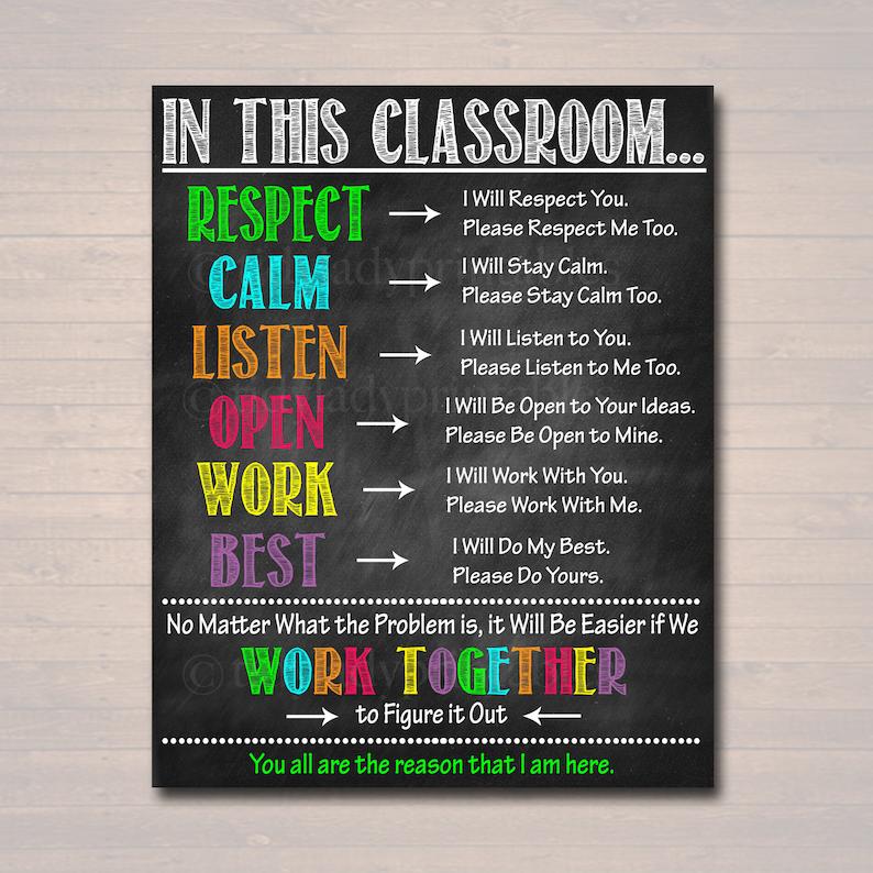 Classroom Decor, High School Teacher Printable Poster, Expectations Rules  Respect Teen Class Decor, Behavior Classroom Management Printable