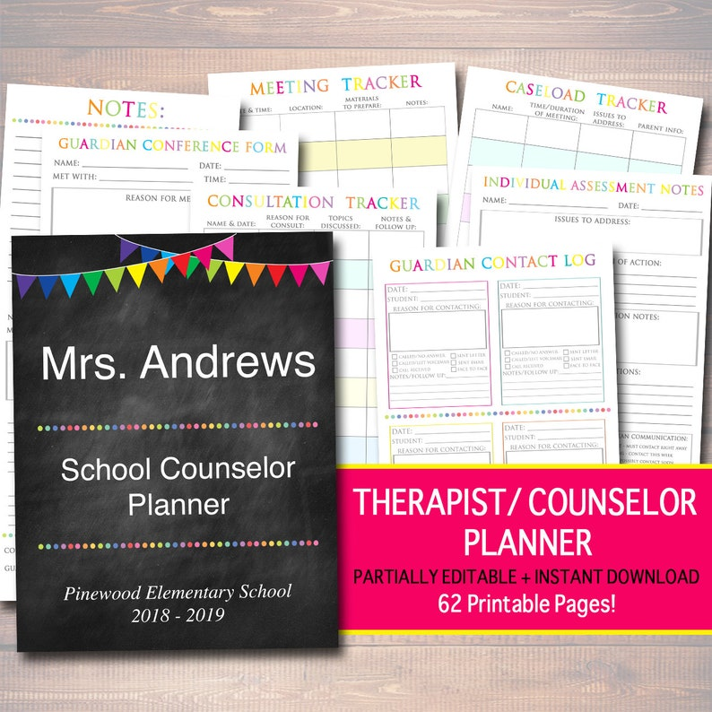 Printable Counselor Planner Editable Undated Perpetual Calendar INSTANT DOWNLOAD 62 Pages Lesson Plan Meeting Notes School Psychologist