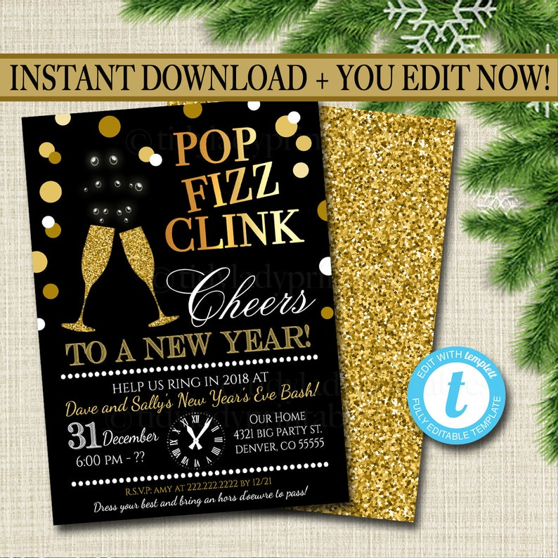 3b95cc060f2 EDITABLE New Years Eve Party Invitation Adult Holiday Party