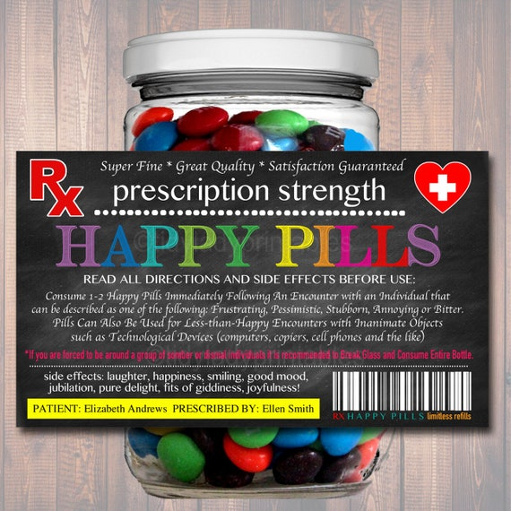 graphic about Printable Chill Pill Label identified as EDITABLE Satisfied Products Label, Amusing Gag Present Well-informed