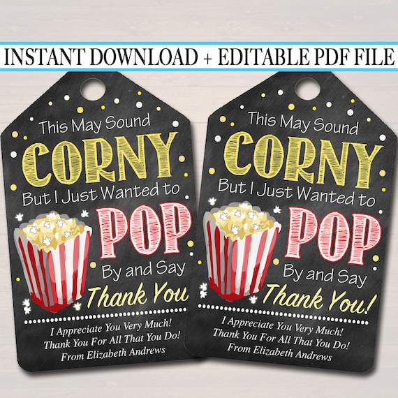 photograph about Popcorn Teacher Appreciation Printable named EDITABLE Popcorn Thank Your self Tags, Instructor Appreciation, Take care of