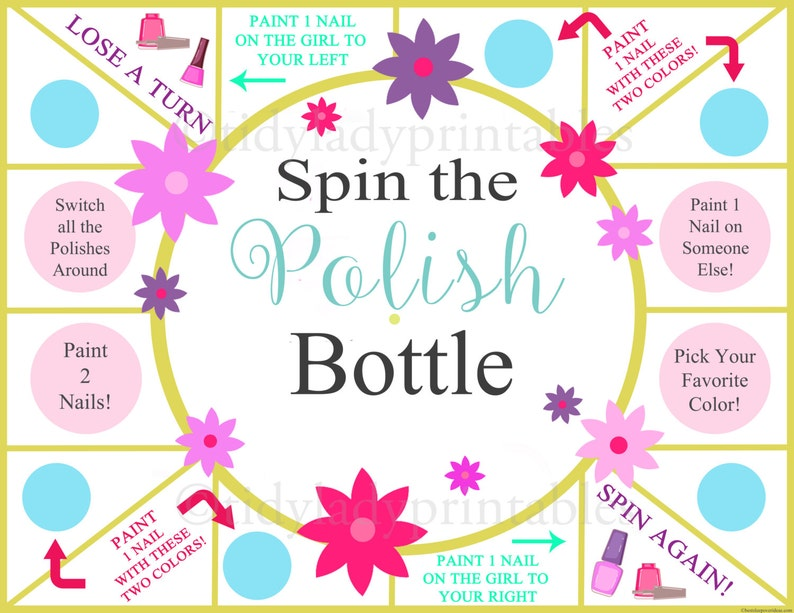37824aac4083 Spin the Nail Polish Bottle Printable Game Girls Party Game | Etsy