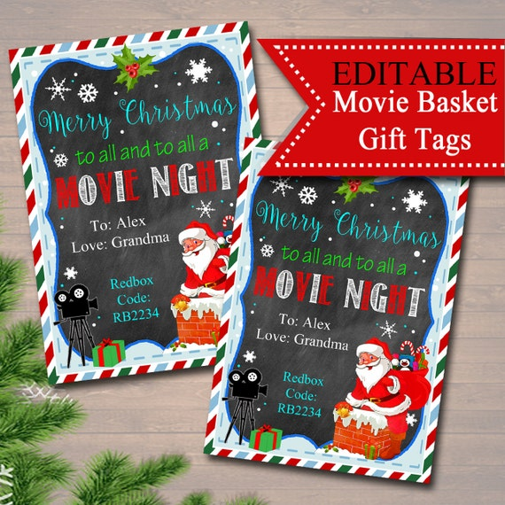 picture about Secret Santa Gift Tags Printable referred to as EDITABLE Xmas Online video Reward Tags, Top secret Santa, Printable Trainer Present, Merry Xmas In direction of All Towards All a Video clip Evening, Fast Obtain