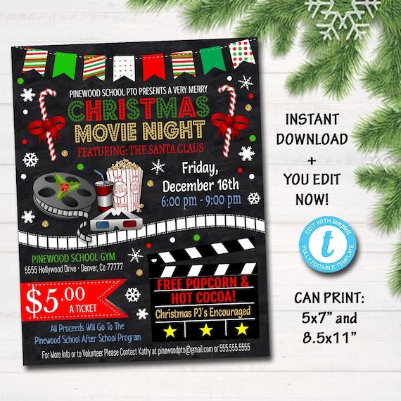 editable christmas movie night flyer printable pta pto flyer etsy