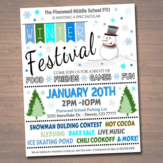 EDITABLE Winter Festival Holiday FlyerPoster Printable Christmas Invitation Community Winter Event, Church School Pto Pta Fundraiser Invite