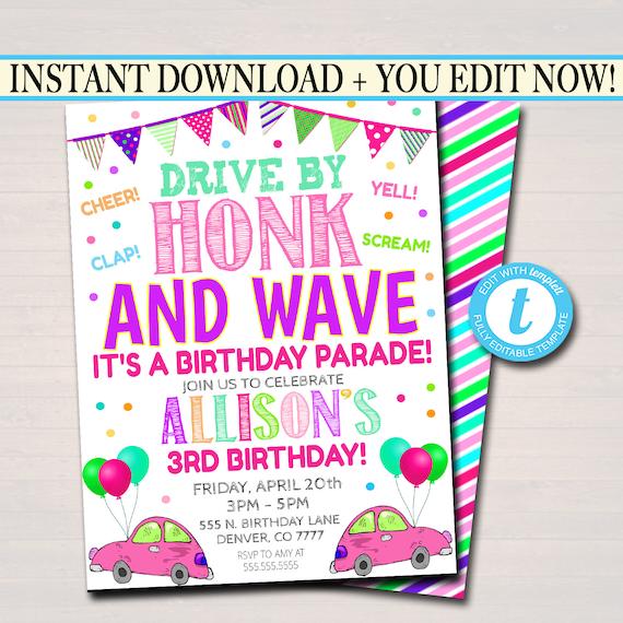 Drive By Birthday Parade Invitation Virtual Birthday Party Etsy