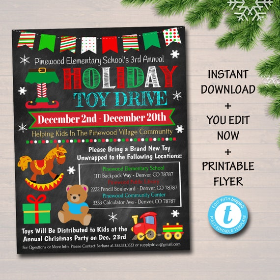Christmas Fundraiser Flyer.Editable Holiday Toy Drive Flyer Printable Pta Pto Flyer