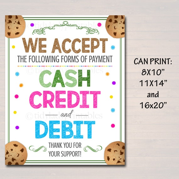 photo regarding We Accept Credit Cards Printable Sign identified as PRINTABLE Credit score Card Indicator, Fundraising Booth, Bake Sale