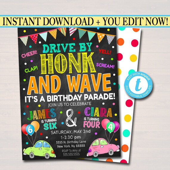 Drive By Birthday Parade Invitation Virtual Dual Birthday Party Invitation Digital Kids Sibling Invite Instant Download Editable Template By Tidylady Printables Catch My Party