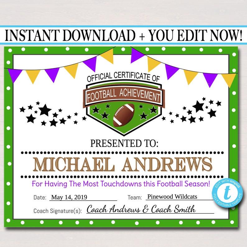 Editable Football Award Certificates Instant Download Team Etsy