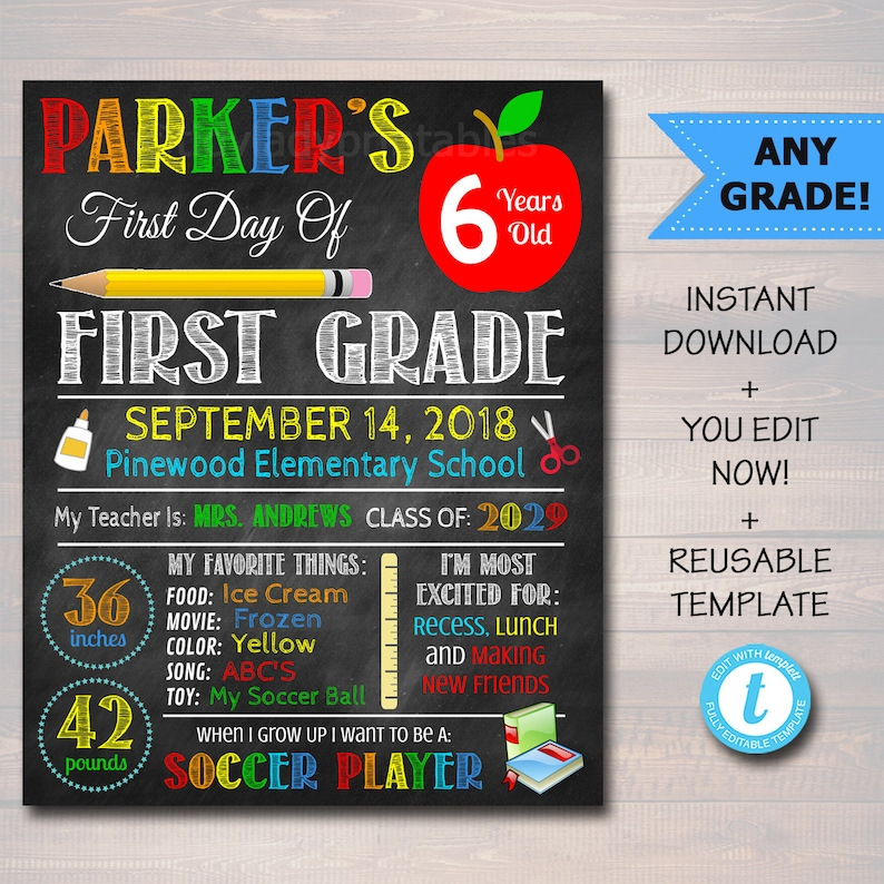 First Day Of School Sign back to School Chalkboard Poster image 0