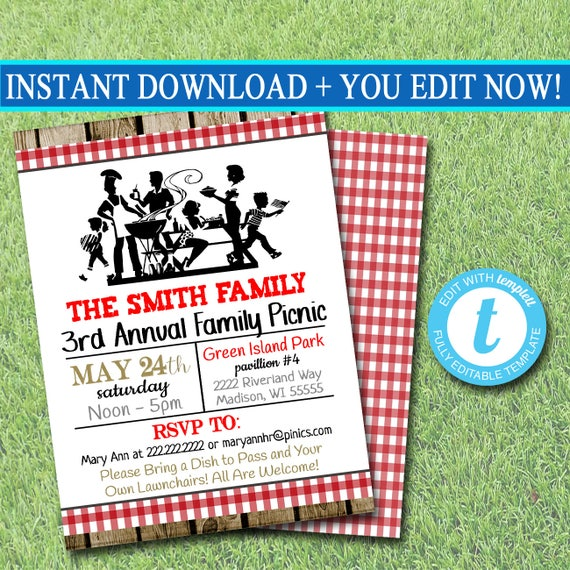 editable picnic invitation company picnic family picnic bbq etsy