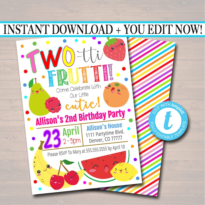 EDITABLE Two Tti Frutti Party Birthday Invitation Girls Image 0